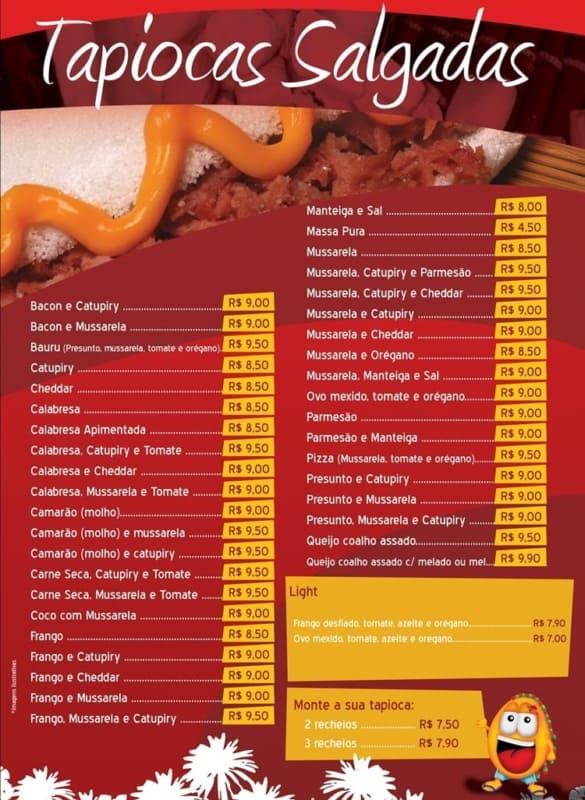 modelo de cardapio de tapioca