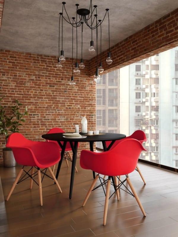 Modelo de cadeira Eames vermelha com braco