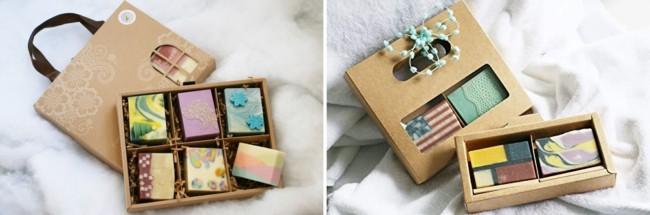 embalagem para sabonete artesanal com caixa de papel kraft