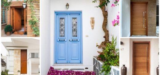 porta de entrada de madeira