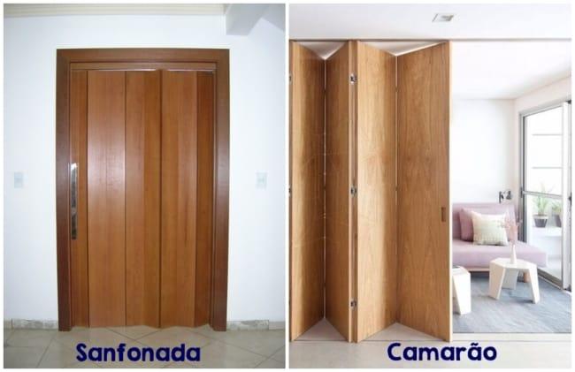diferenca entre porta de madeira sanfonada e camarao