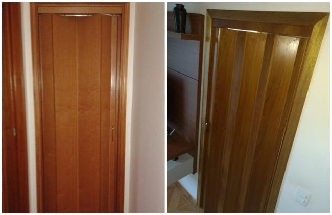 modelo simples de porta sanfonada de madeira