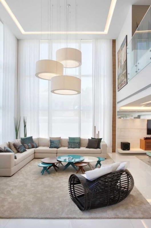 sala com sofa em L off white