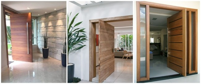porta de entrada pivotante de madeira
