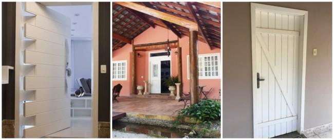 porta de entrada de madeira branca