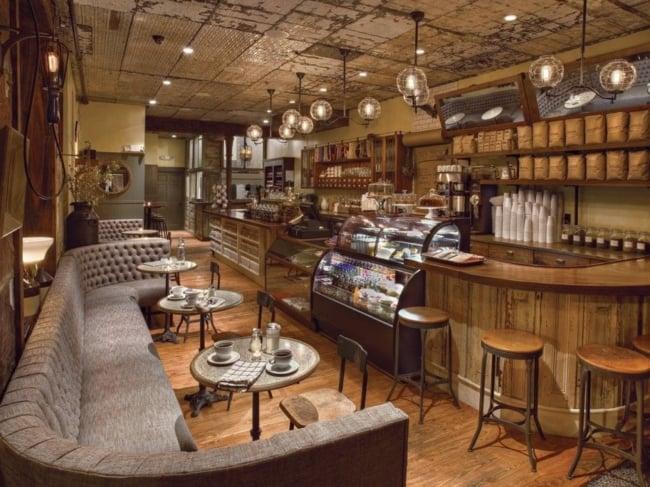 cafeteria gourmet rustica com sofa