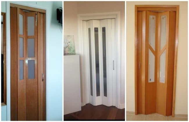 porta de madeira sanfonada com vidro