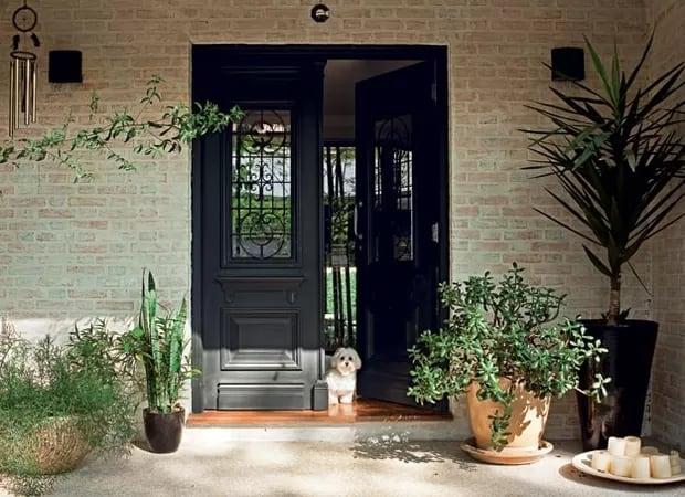 casa com porta de 2 folhas preta
