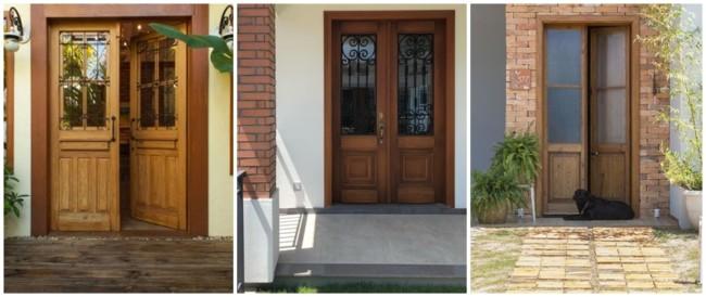 porta de entrada de madeira com 2 folhas