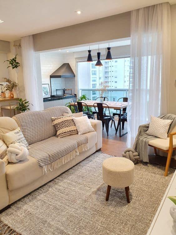 sala com sofa off white