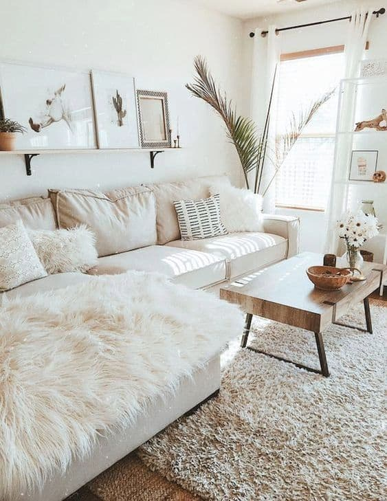 sala clean com decoracao off white