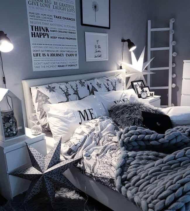 cama moderna em tons de cinza