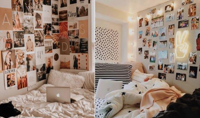 cama tumblr com fotos na parede