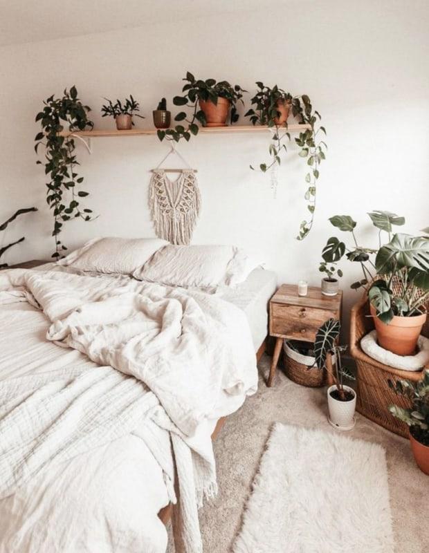 decoracao com plantas no quarto