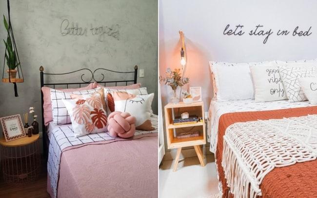 modelos de cama com frase de parede em relevo