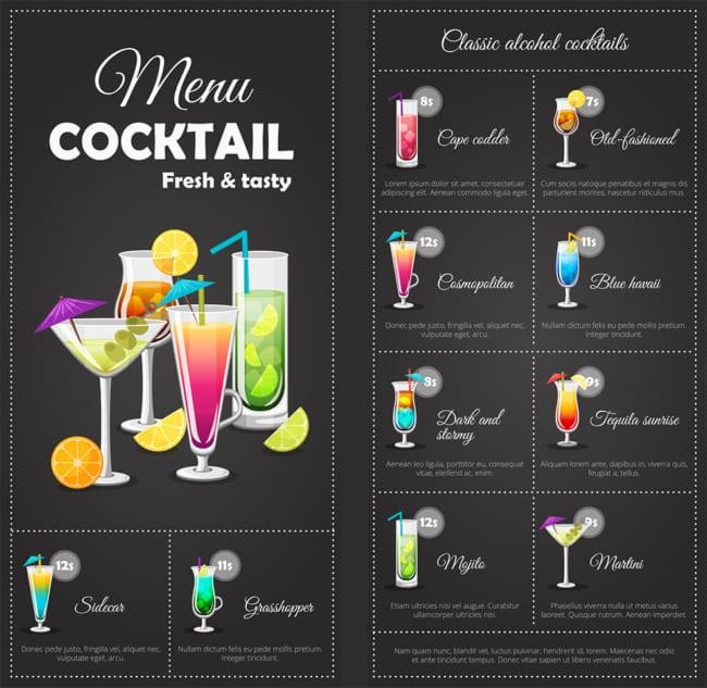 modelo de cardapio de drinks moderno