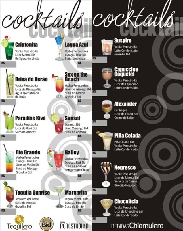 ideia para menu de drinks