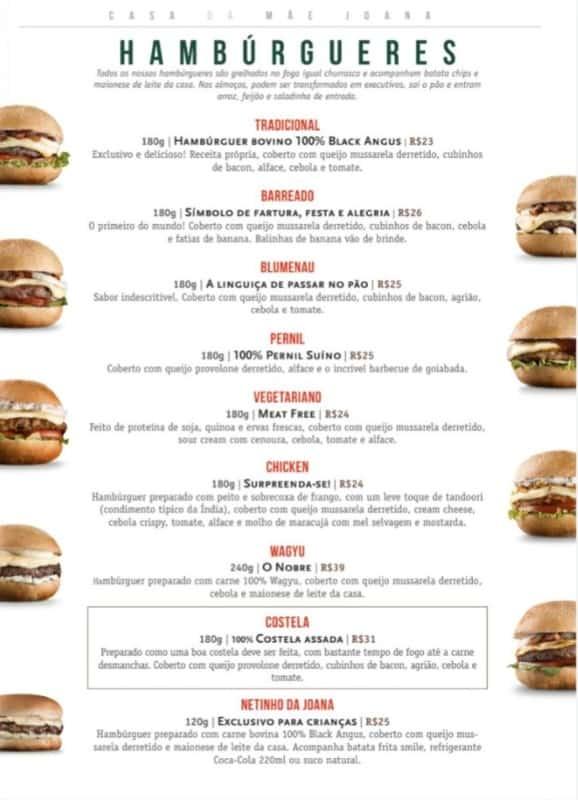 modelo de cardapio para hamburguer