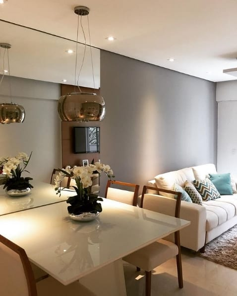 sala de estar e jantar com parede elefante suvinil