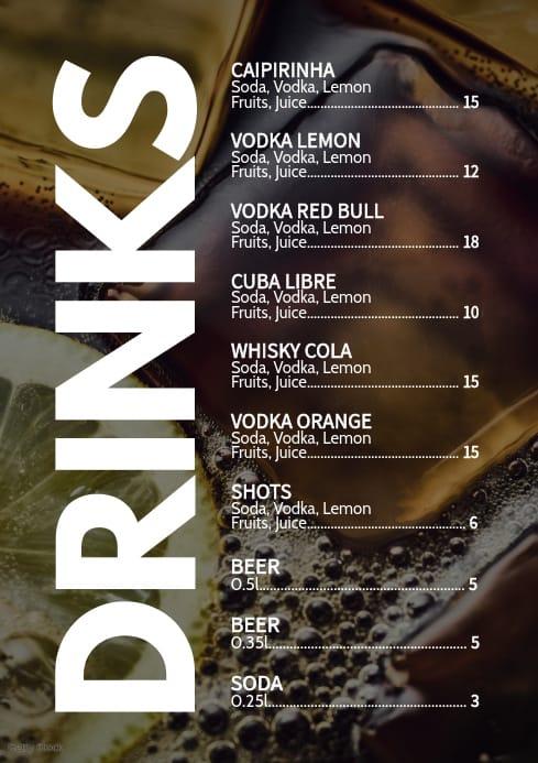 cardapio simples de drinks