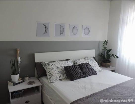 quarto decorado com meia parede cor elefante suvinil