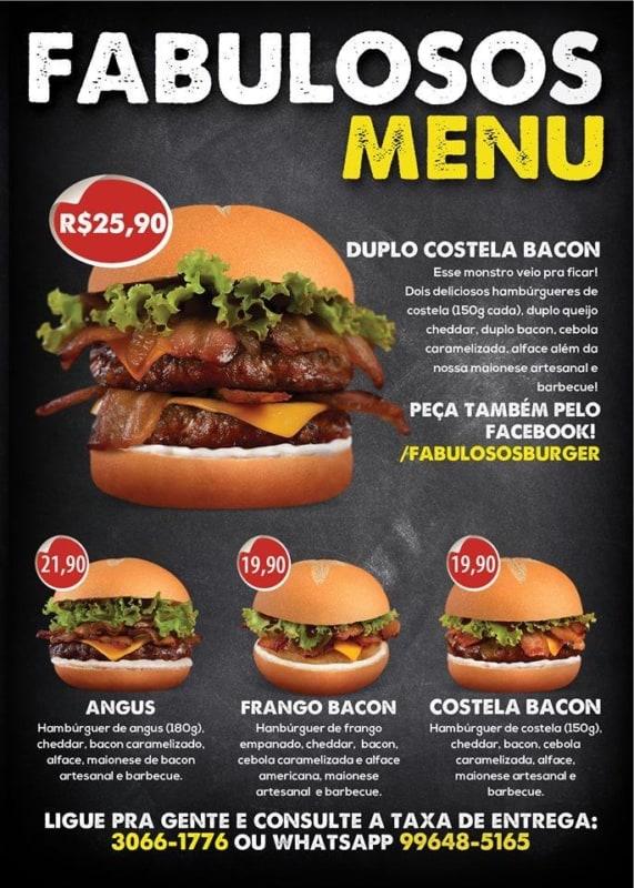 modelo de cardapio de hamburguer artesanal com fotos