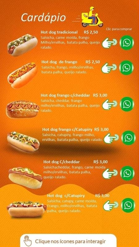 modelo de cardapio virtual para hot dog