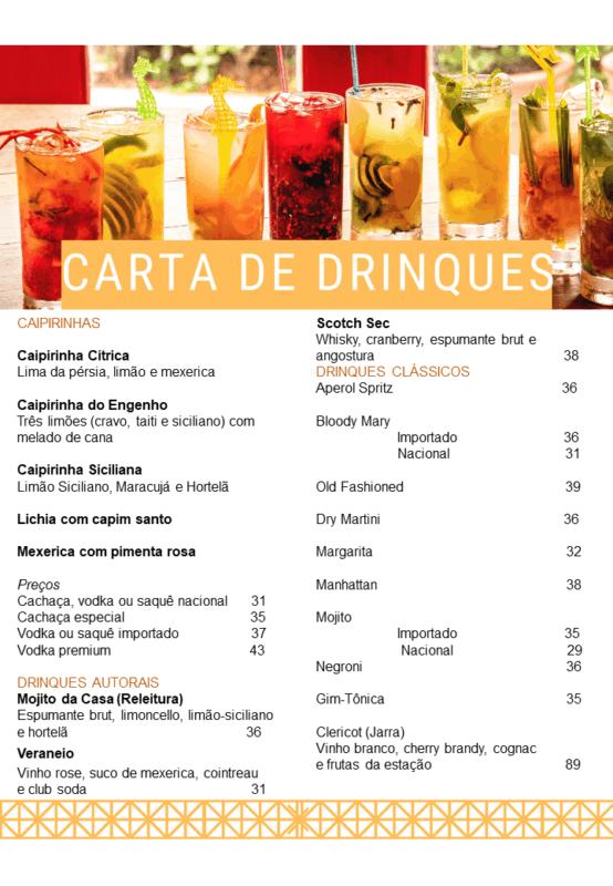 inspiracao para menu de drinks