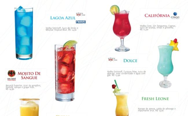 cardapio de drinks com fotos