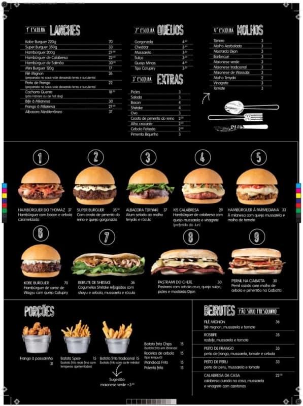 cardapio criativo e moderno para hamburgueria
