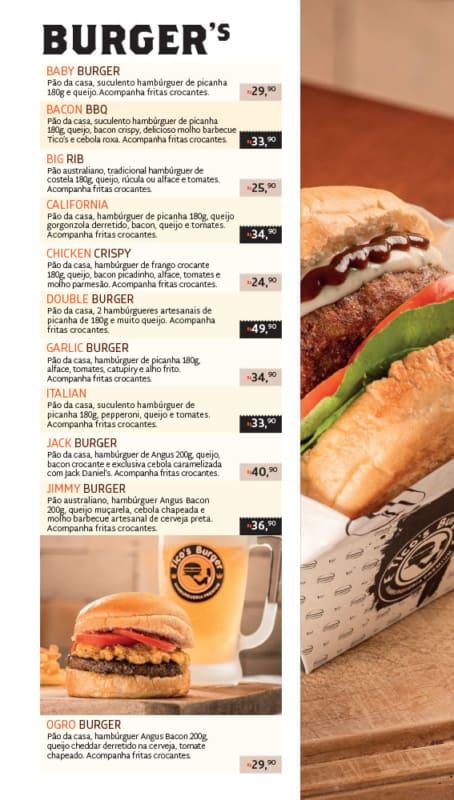 modelo de cardapio para hamburgueria artesanal