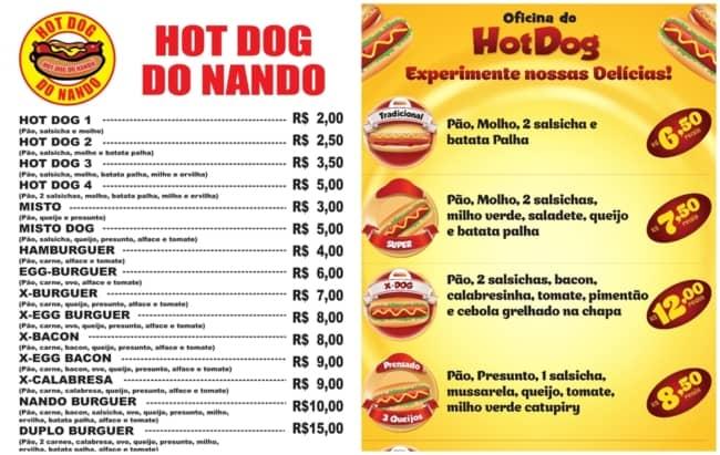 como fazer menu de hot dog