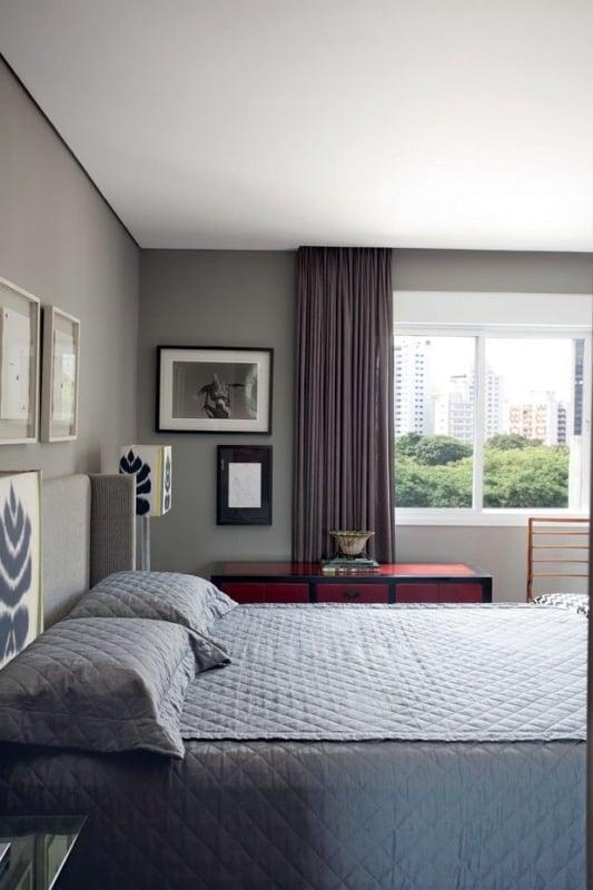 quarto neutro e moderno com parede elefante suvinil