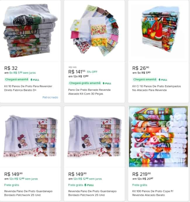loja online para comprar panos de prato para revender