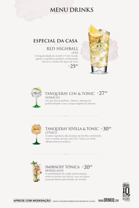 modelo de cardapio de drinks moderno e clean