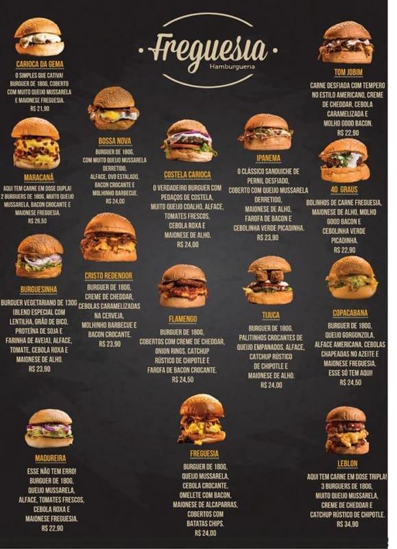 cardapio moderno e com foto para hamburgueria