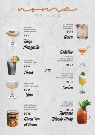 ideia para cardapio de drinks