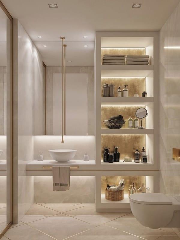 banheiro elegante com luzes planejadas