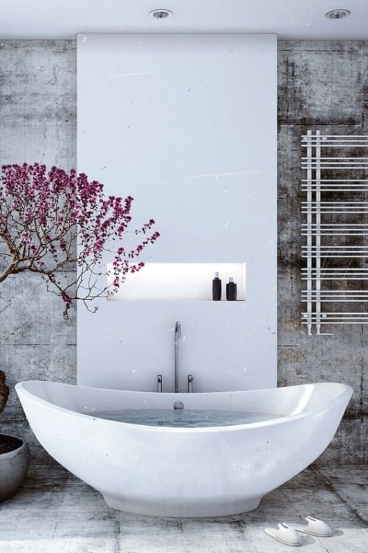 banheiro tumblr com arvore decorativa