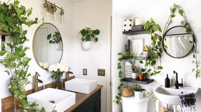 banheiro tumblr com espelho redondo e plantas