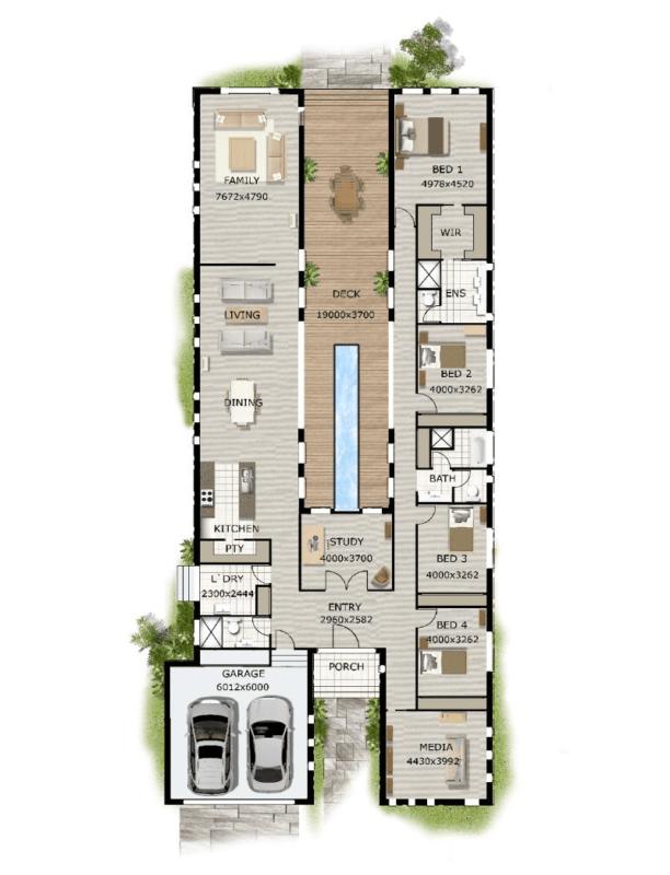 casa com 4 quartos e piscina estreita no centro