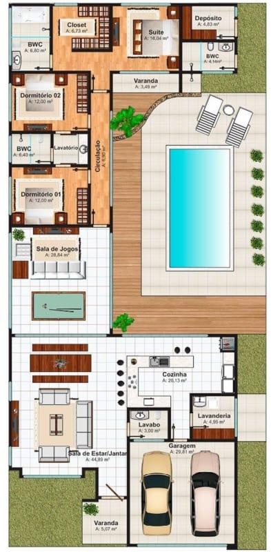 casa com piscina sala de jogos e garagem