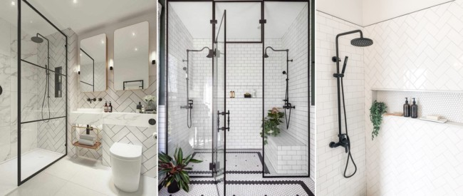 ideias de banheiro industrial com esquadria e chuveiro pretos
