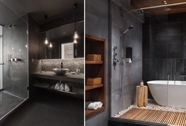 modelos de banheiro tumblr em tons escuros