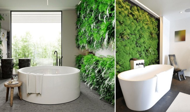 modelos de banheiros com jardim vertical