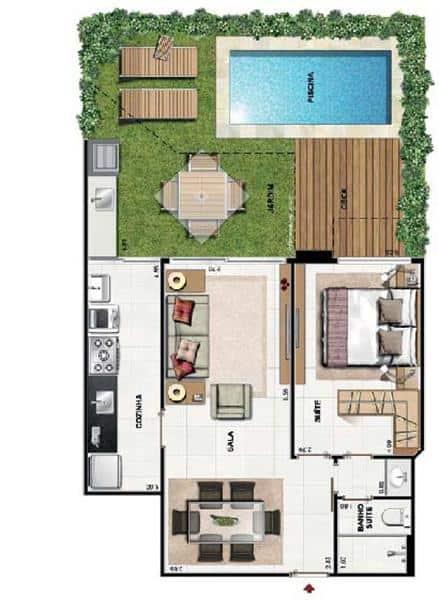 planta de casa com 1 suite e piscina