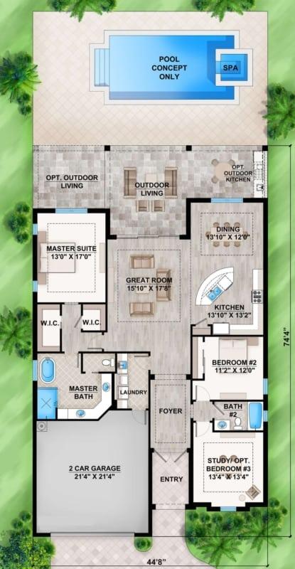 planta de casa com 2 quartos e 1 opcional