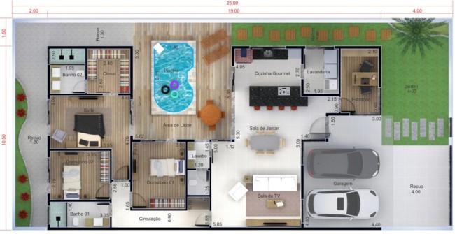 planta de casa com jardim piscina e cozinha gourmet