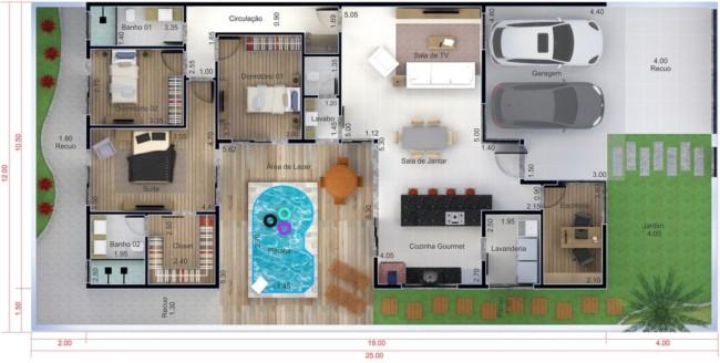 planta de casa com jardim piscina e garagem