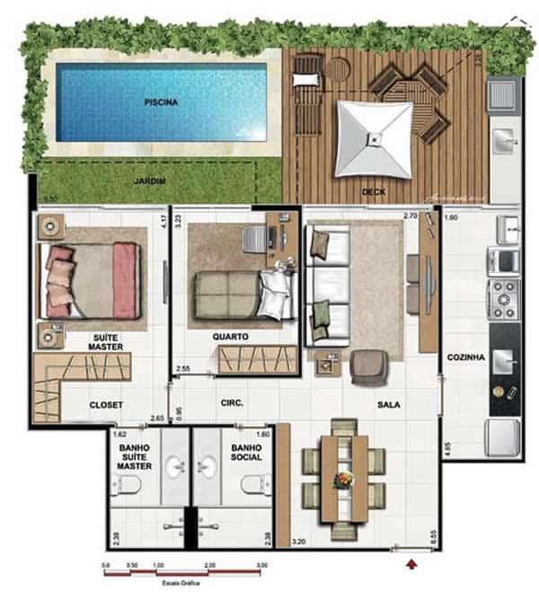 planta de casa com piscina deck e 2 quartos